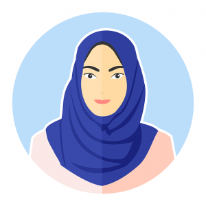 A drawing of a woman wearing hijab