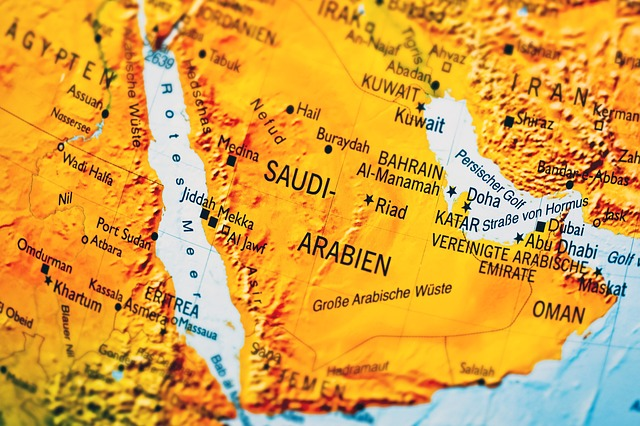 A map of Saudi Arabia, representation of moving from US to Saudi Arabia