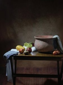 Still art painting - some fruits and a clay pot on a table