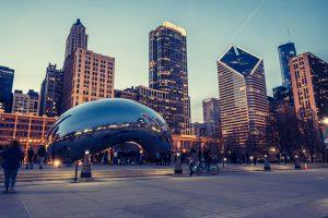 Millenium Park in Chicago with skyline