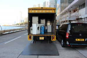 Moving truck of an affordable moving company Chicago loaded with furniture