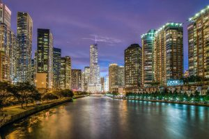 city view of chicago at night from the river