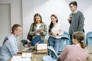 Group of students learning