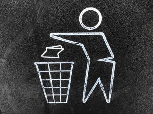 A garbage bin logo