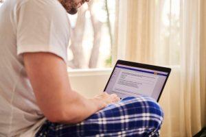 man browsing the internet