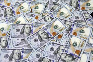 a shot of american dollar bills