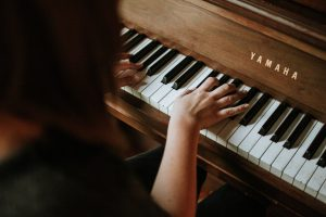 A person playiing the piano