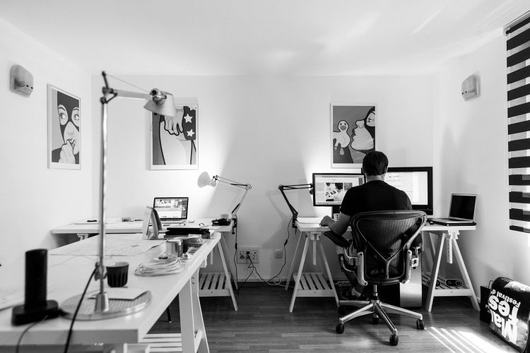 a person at home office