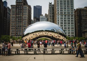 The Bean, oen of the most famous monuments in Chicago